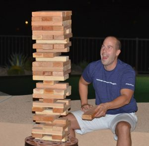 Me playing giant jenga