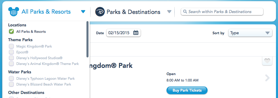 Screen shot of My Disney Experience application