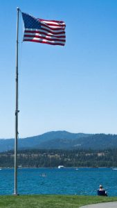 American flag near Lake Coeur d'Alene