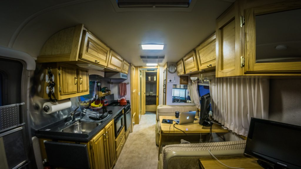 Interior of our Airstream: Look at how cramped it all is!