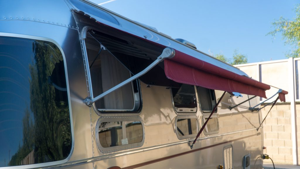 Awnings on the street side of the Airstream