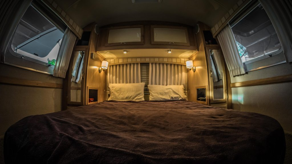 The bed in our Airstream: Where all the magic happens!