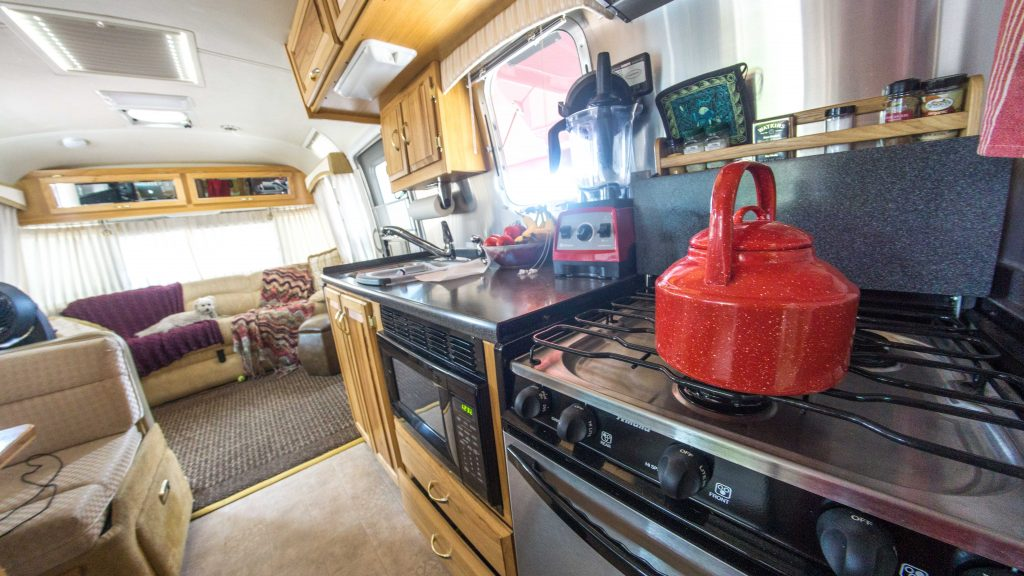 The kitchen in the Airstream