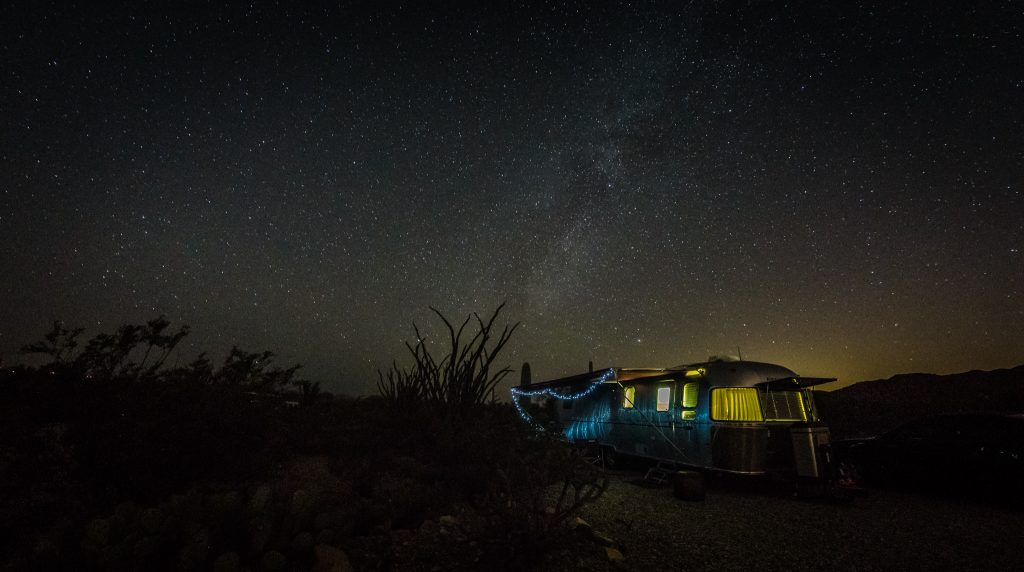 Our Airstream, Charlie, under the stars