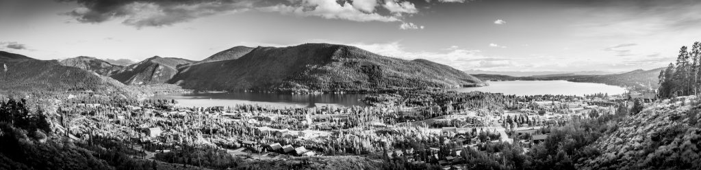 Panoramic of Grand Lake and Shadow Mountain Lake