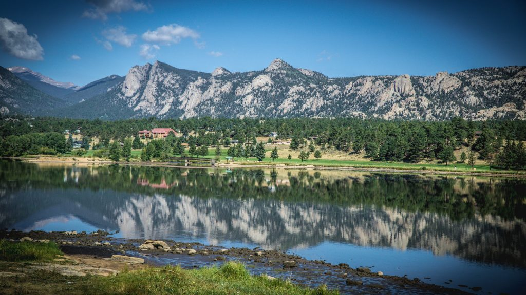 A view across Estes Park outside of Rocky Mountain National Park.
