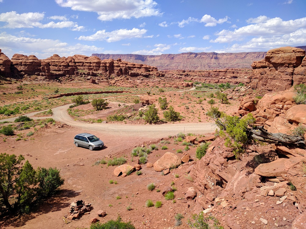 The Resume Gap van in Canyonlands