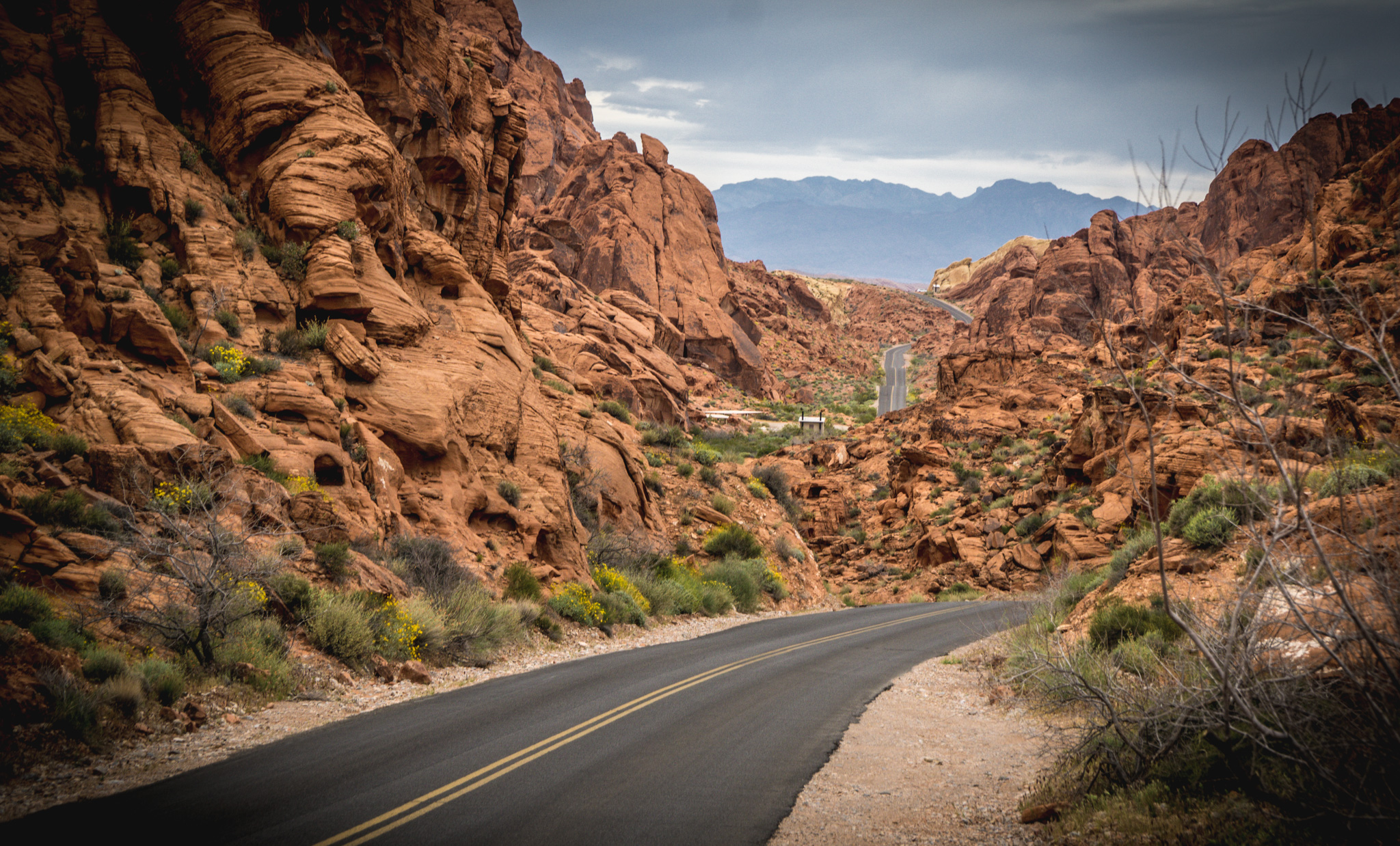 Road through Valley of Fire State Park in Nevada