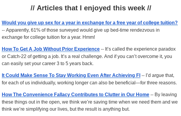 Screenshot of external links in the weekly newsletter
