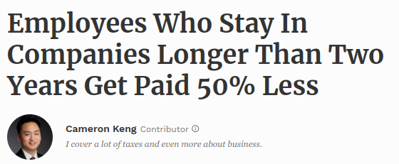 Forbes: Employees make less by staying